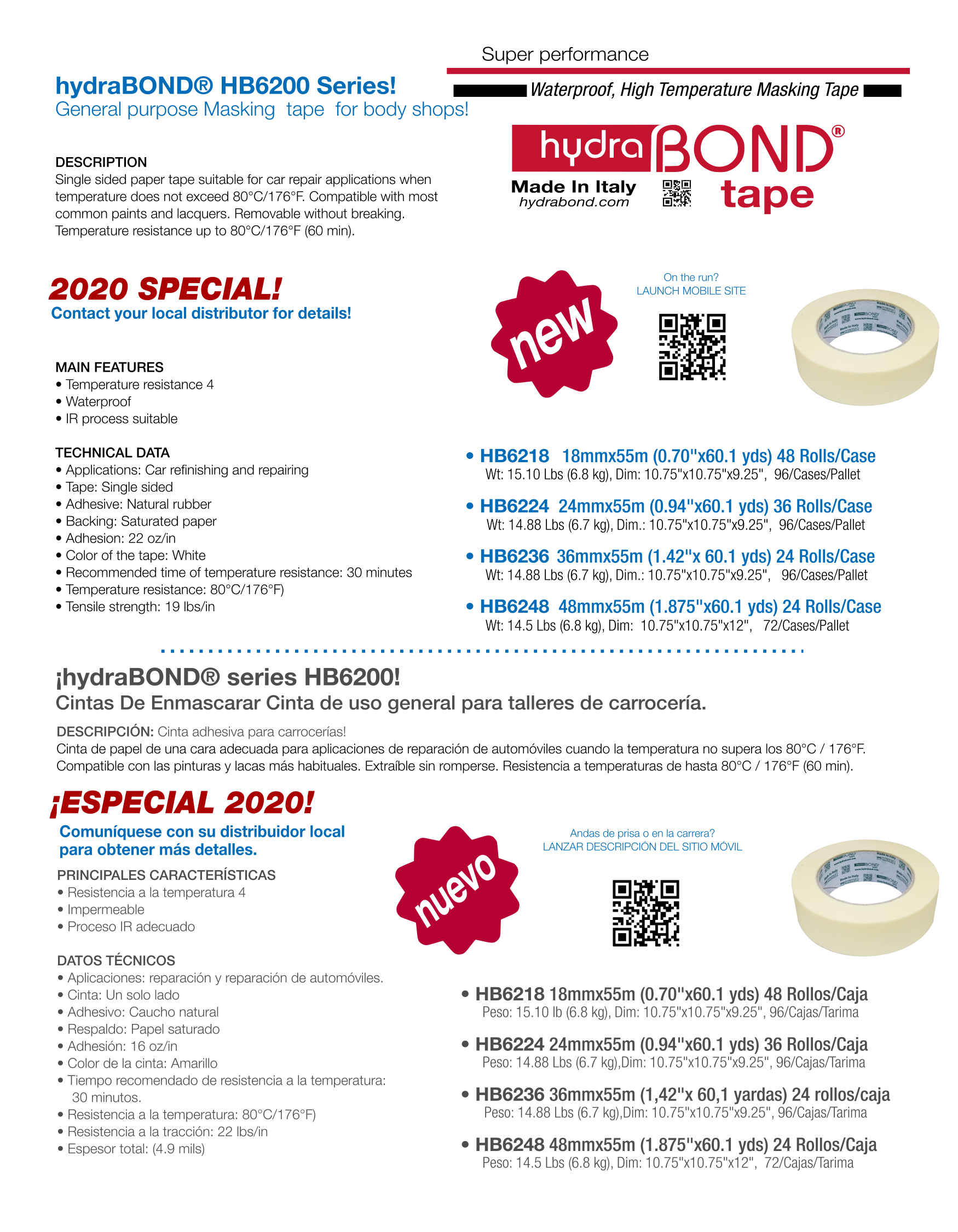 hydraBOND® HB62 Series General purpose Masking  tape  for body shops!